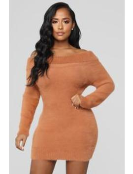 Caught In The Feels Sweater Dress   Rust by Fashion Nova