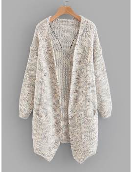 Space Dye Cable Knit Cardigan by Sheinside