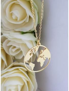 Globe Map Necklace Gold Plated Globe Necklace Earth Necklace Boho Jewelry, Silver Necklace, Globe Pendant, Globe Choker, World Map Necklace by Etsy