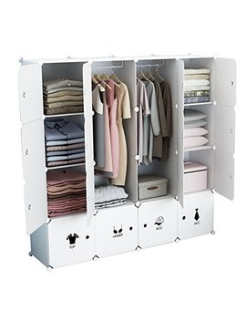 Kousi Portable Wardrobe Closet For Bedroom Clothes Armoire Dresser Cube Storage Organizer, 10 Cubes&2 Hanging Sections by Kousi