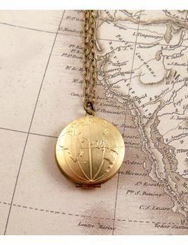 Wanderlust Globe Locket Necklace Globe Necklace Travel Gift World Map Locket Necklace Travel Gift Bon Voyage Gift by Etsy