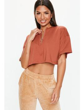 Petite Rust Zip Front Boxy Crop Top by Missguided