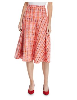 A Line Mid Calf Soft Tweed Skirt by Delpozo