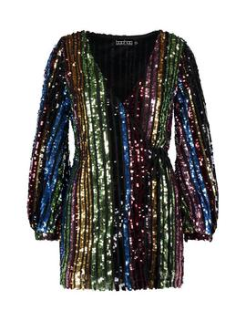 Petite Rainbow Sequin Blouson Sleeve Wrap Dress by Boohoo