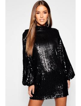 Petite Stripe Sequin Blouson Sleeve Shift Dress by Boohoo