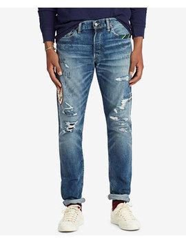 Men's Sullivan Slim Patch Ripped Jeans by Polo Ralph Lauren