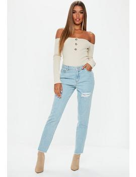 Jean Bleu Destroy Taille Haute Lust by Missguided