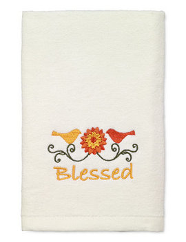 Last Act! Harvest Blessed Cotton Embroidered Hand Towel by Avanti