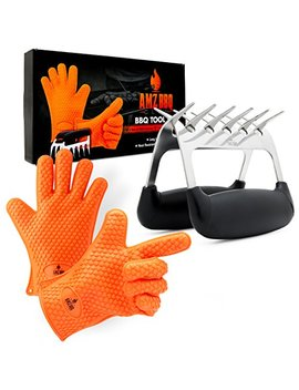 Amz Bbq Club, Bbq Gloves And Meat Claw Accessories With Heat Resistant Silicone Glove And Meat Shredder (Orange) by Amz Bbq Club