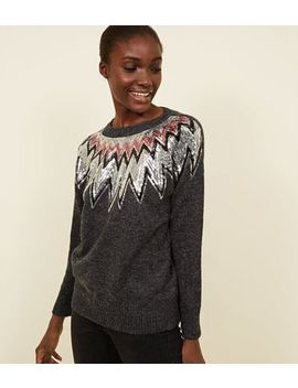 Blue Vanilla Sequin Zig Zag Jumper by New Look