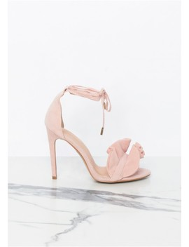Anika Pink Suede Ruffle Ankle Wrap High Heels by Missy Empire