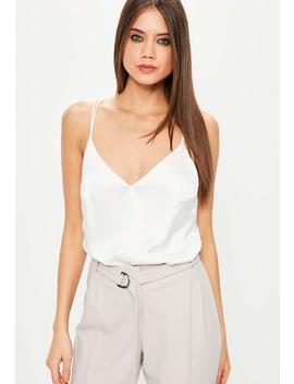 White Satin Strappy Bodysuit by Missguided