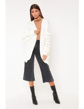Cream Knitted Bubble Sleeve Cardigan by I Saw It First