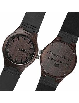Engraved Wood Watches For Men   Natural Wooden Wrist Watch   Groomsmen Gifts For Men   Personalized Wedding Anniversary Gift For Men by Kosting