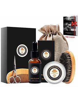 Xikezan Mens Gifts For Men Beard Care Grooming & Trimming Kit Unscented Beard Conditioner Oil + Mustache & Beard Comb+Balm Wax+Brush+Mustache... by Xikezan