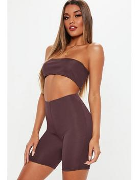 Plum Bandeau Ribbed Crop Top And Cycling Shorts Co Ord by Missguided