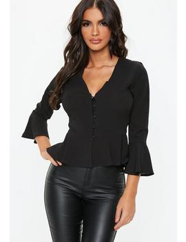 Black Button Detail Peplum Top by Missguided