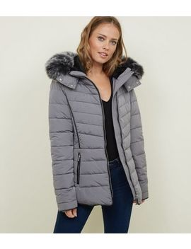 Tall Pale Grey Padded Puffer Jacket by New Look