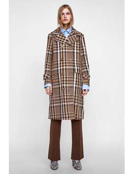 Plaid Double  Breasted Trench Coat Trench Coats Coats Woman by Zara