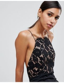 Jarlo Lace Top Open Back Fishtail Maxi Dress In Black by Jarlo