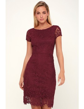 Right Sheer, Right Now Burgundy Lace Bodycon Dress by Lulus