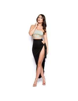 Plot Twist Thigh High Split Maxi Skirt In Black by Oh Polly
