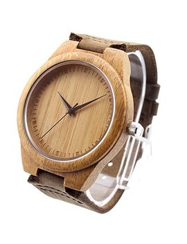 Ideashop New Vosicar Retro Leather Fashion Bamboo Wooden Watch Japan Movement Quartz With Genuine Cowhide Leather Band Casual Watches Creative Gifts For Men by Ideashop