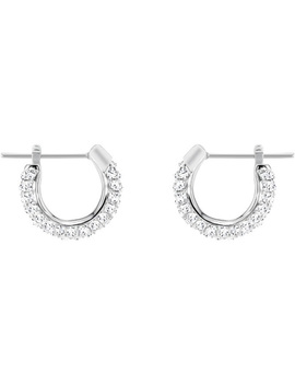 Stone Pierced Earrings, Small, White, Rhodium Plating by Swarovski