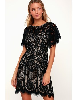 Pearson Black Lace Short Sleeve Dress by Lulus