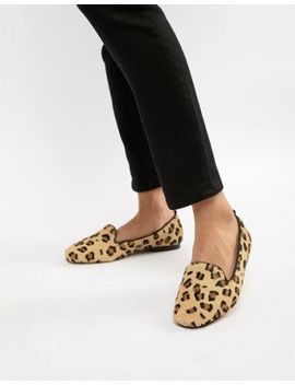 Asos Design Leo Leather Ballet Flats In Leopard by Asos Design