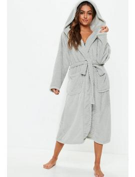 Grey Fluffy Long Length Dressing Gown by Missguided