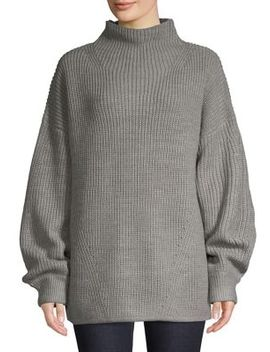 Textured Blouson Sleeve Sweater by H Halston