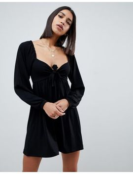 Asos Design Mini Dress With Sweetheart Neck And Tie Front by Asos Design
