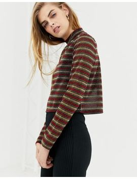 Daisy Street Crop Top In Sheer Glitter Stripe Mesh by Daisy Street