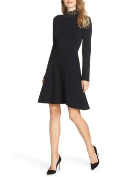 Jeweled Mock Neck Fit & Flare Sweater Dress by Eliza J