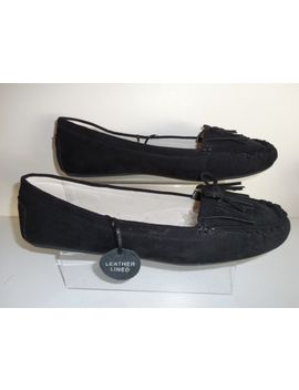 Flat Black Faux Suede Moccasins Size Uk 11 Wide Fit E New With Tags ~~Evans by Ebay Seller
