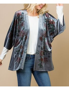 Gray Floral Velvet Cardigan   Women by Acting Pro