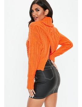 Orange Roll Neck Cable Jumper by Missguided