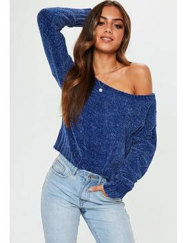 Blue Chenille Off Shoulder Knitted Jumper by Missguided