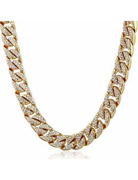 Trendsmax 14mm Mens Womens Hiphop Necklace Chain Iced Out Curb Cuban Yellow Gold Plated Gf W Paved Clear Rhinestones by Trendsmax