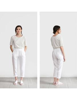 White Linen Pants, Loose Linen Trousers, Washed Women Linen Trousers, Linen Clothing, Wholesale by Etsy
