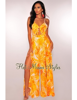 Tangerine Palm Print Padded Slit Palazzo Jumpsuit by Hot Miami Style
