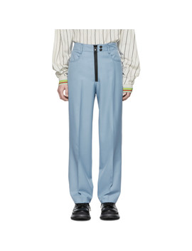 Blue Pleated Memento Straight Cut Trousers by Kenzo