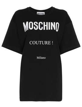 Moschinoboxy Logo Print Cotton Short Sleeve T Shirthome Women Moschino Clothing T Shirts & Jersey Shirts by Moschino
