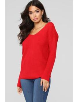 Autumn's Favorite Girl Sweater   Red by Fashion Nova
