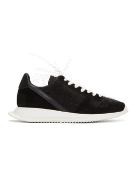 Black Lace Up Runner Sneakers by Rick Owens