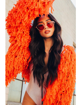Burnt Orange Shaggy Crop Jacket   Neha by Rebellious Fashion
