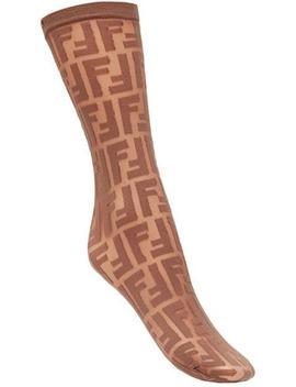 Fendilogo Embroidered Sockshome Women Fendi Clothing Pantyhose & Stockings by Fendi