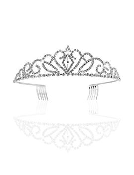 Pixnor Gorgeous Pretty Rhinestone Tiara Crown Exquisite Headband Comb Pin Wedding Bridal Birthday Tiaras by Pixnor