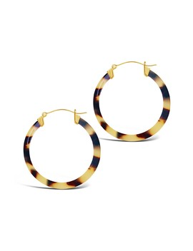 14 K Yellow Gold Plated 50mm Honey Tortoise Acetate Hoop Earrings by Sterling Forever